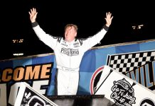 Lynton Jeffrey in victory lane at Knoxville Raceway. (Paul Arch photo)