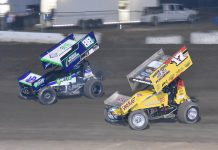 Justin Sanders (17) battles D.J. Netto at Ocean Speedway. (Joe Shivak photo)