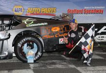 Keith Rocco in victory lane Friday night at Stafford Motor Speedway.