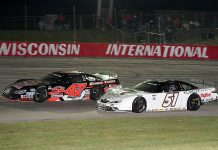 Kyle Busch (51) battles Casey Johnson during Tuesday's Gandrud Auto Group Dixieland 250 at Wisconsin Int'l Raceway. (Doug Hornickel Photo)