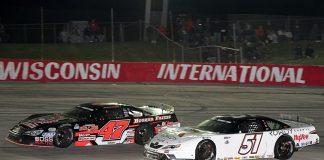 Kyle Busch (51) battles Casey Johnson during Tuesday's Gandrud Auto Group Dixieland 250 at Wisconsin Int'l Raceway. (Doug Hornickel Photo)