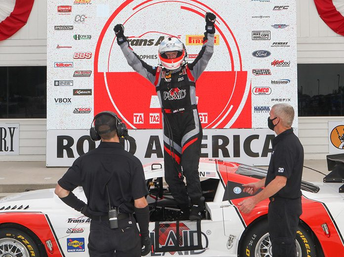 Chris Dyson celebrates after winning Saturday's Trans-Am Series event at Road America.