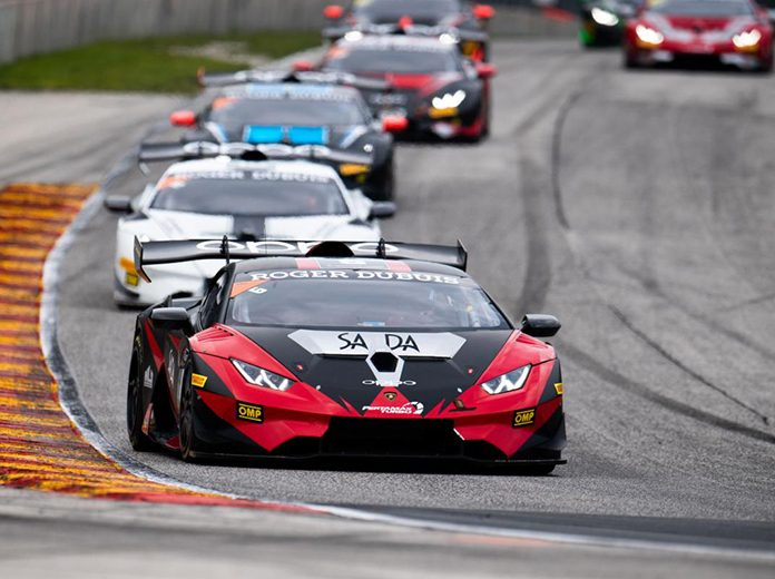 Jacob Eidson and Steven Aghakhani drove to victory in Saturday's Lamborghini Super Trofeo North America event at Road America. (Jamey Price/IMSA Photo)