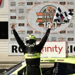 Austin Cindric celebrates after winning Saturday's NASCAR Xfinity Series event at Road America. (Stacy Revere/Getty Images Photo)