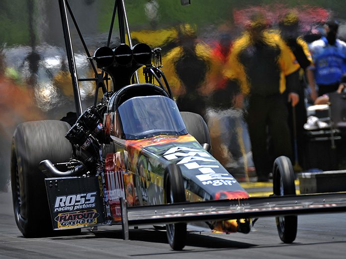 Terry McMillen earned his first No. 1 qualifier in Top Fuel competition Saturday at Lucas Oil Raceway. (Shawn Crose Photo)