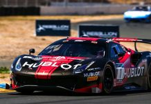 Martin Fuentes and Rodrigo Baptista drove the Squadra Corse Ferrari to victory Saturday at Sonoma Raceway.