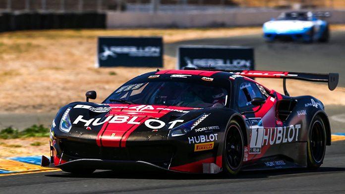 Martin Fuentes and Rodrigo Baptista drove the Squadra Corse Ferrari to victory Saturday at Sonoma Raceway.