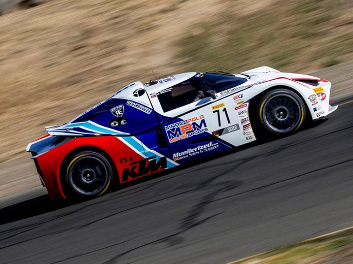 Mads Siljehaug and Nicolai Elghanayan put the No. 71 Marco Polo Motorsports KTM X-Bow GT4 in victory lane Saturday at Sonoma Raceway.