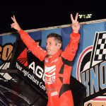 Kerry Madsen celebrates winning the Knoxville 360 Nationals. (Paul Arch photo)