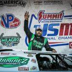 Dereck Ramirez celebrates after winning the USMTS Slick Mist Show-Me Shootout Presented by Foley Equipment at Lucas Oil Speedway. (GS Stanek Racing Photography)