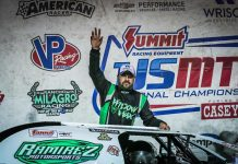 Dereck Ramirez celebrates after winning the USMTS Slick Mist Show-Me Shootout Presented by Foley Equipment at Lucas Oil Speedway. (GS Stanek Racing Photography)
