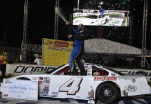 Jonathan Findley celebrates after claiming his first CARS Tour victory Saturday night at Dominion Raceway. (Andrew Fuller Photo)