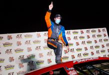 Brandon Shepherd celebrates after winning Saturday's Nut Up Pro Late Model Series event at Madera Speedway. (Jason Wedehase Photo)