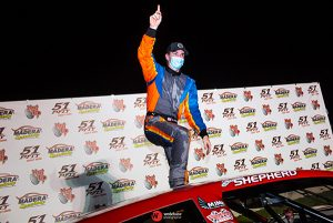 Brandon Shepherd celebrates after winning Saturday's Nut Up Pro Late Model Series event at Madera Speedway. (Jason Wedehase Photo)