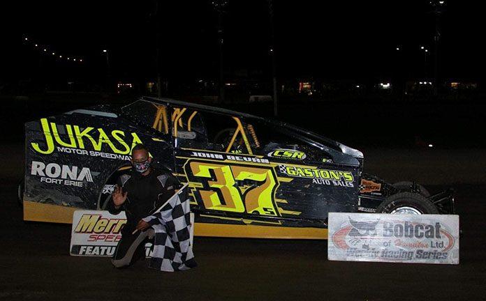 Gary Lindberg following his victory Saturday at Merrittville Speedway. (Nitroman Media Photo)