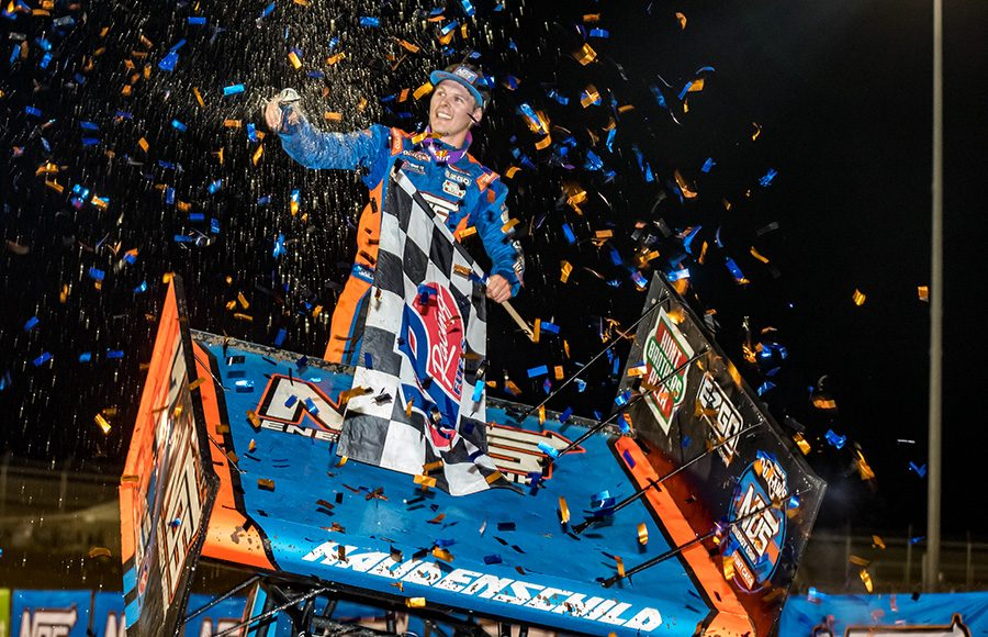 Sheldon Haudenschild celebrates after winning Friday's World of Outlaws NOS Energy Drink Sprint Car Series event at Federated Auto Parts Raceway at I-55. (Brad Plant Photo)
