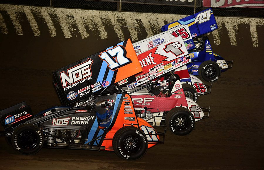 The field for Friday's World of Outlaws NOS Energy Drink Sprint Car Series event prepares to go racing at Federated Auto Parts Raceway at I-55. (Mark Funderburk Photo)