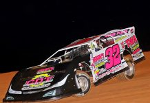 Dustin Mitchell won the Sandra Miller Memorial Saturday night at Lake View Motor Speedway.