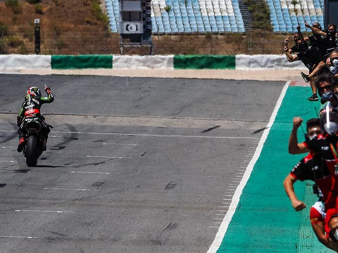 Jonathan Rea crosses the finish line to win Sunday's World Superbike race in Portugal. (WorldSBK Photo)