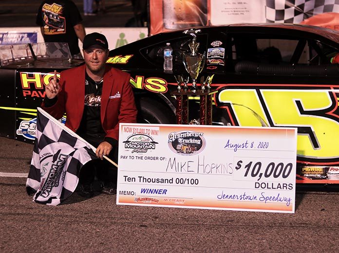 Mike Hopkins captured the third running of the Motor Mountain Masters Saturday at Jennerstown Speedway Complex. (Blake Harris Photo)