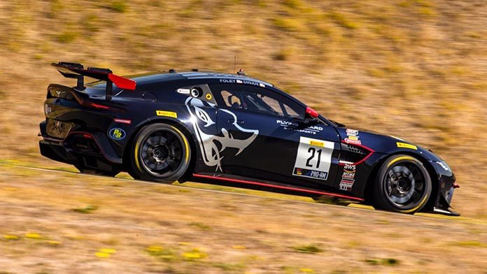 Flying Lizard Motorsports drivers Michael Dinan and Robby Foley dominated Sunday's Pirelli GT4 America SprintX event at Sonoma Raceway.
