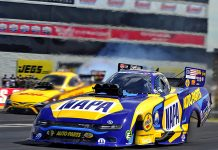 Ron Capps outran J.R. Todd in the final round to take the Funny Car Wally Sunday at Lucas Oil Raceway. (Shawn Crose Photo)
