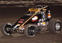 Don Droud Jr. was the winner of the POWRi Lucas Oil WAR Sprint League portion of the Ultimate Challenge on Sunday night. (Richard Bales Photo)