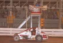 Shane Cottle takes the checkered flag to win Sunday's Bill Holland Classic at Selinsgrove Speedway. (Dan Demarco Photo)