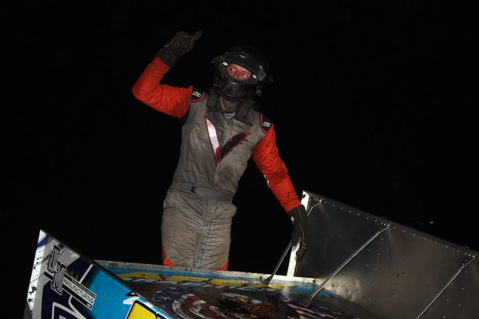 J.J. Hickle in victory lane at Lakeside Speedway. (Paul Arch photo)