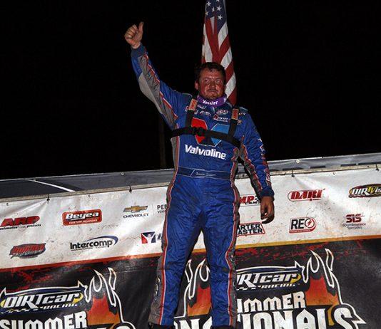 Brandon Sheppard dominated Tuesday's DIRTcar Summer Nationals event at Sycamore Speedway. (Jim Denhamer Photo)
