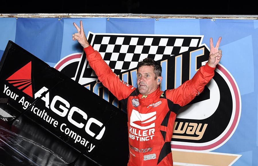Kerry Madsen celebrates after winning the 360 Knoxville Nationals Saturday night at Knoxville Raceway. (Frank Smith Photo)