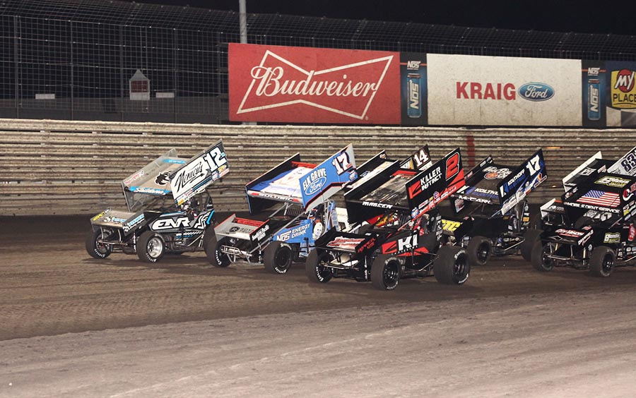 The field for Saturday's 360 Knoxville Nationals main event prepares to go racing at Knoxville Raceway. (Richard Bales Photo)