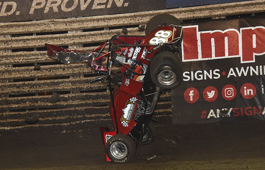 Kyle Offill goes for a wild ride during the B Main during Saturday's 360 Knoxville Nationals finale at Knoxville Raceway. (Paul Arch Photo)