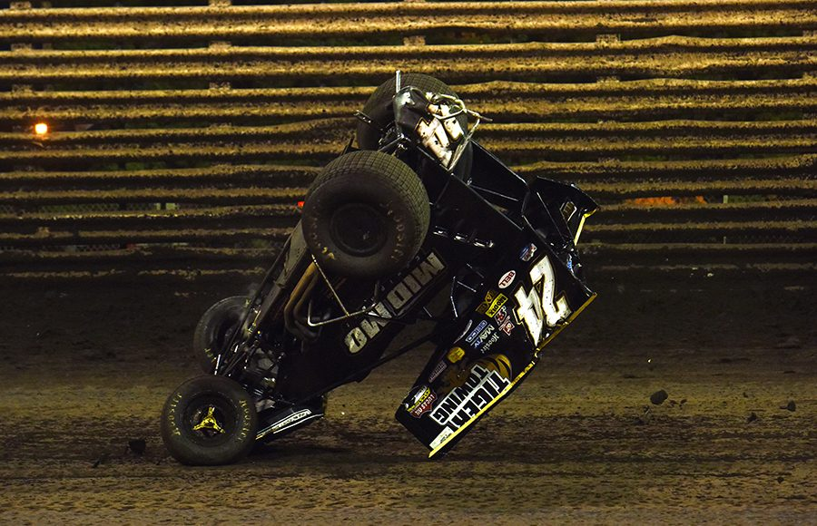 Garret Williamson flipped his sprint car during Saturday's 360 Knoxville Nationals C Main at Knoxville Raceway. (Paul Arch Photo)