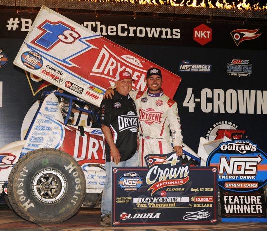 Logan Schuchart and Bobby Allen in victory lane at Eldora Speedway. (Julia Johnson Photo)