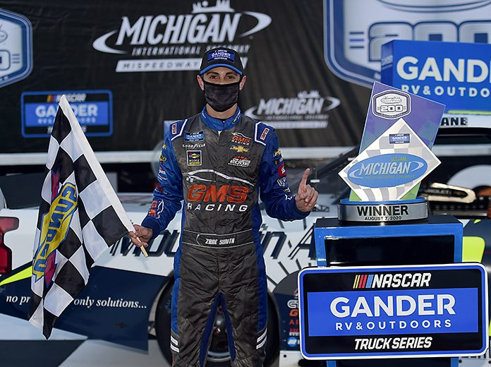 Zane Smith scored the pole for Friday's NASCAR Gander RV & Outdoors Truck Series race on the Daytona Int'l Speedway road course. (Jared C. Tilton/Getty Images Photo)