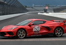 A Torch Red 2020 Chevrolet Corvette Stingray will lead the Indianapolis 500 field to the green flag later this month.