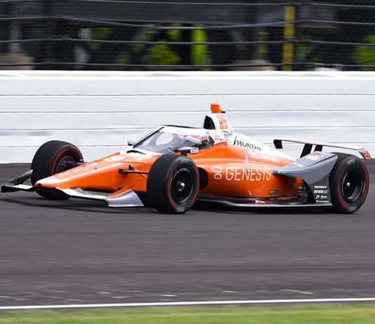 James Hinchcliffe topped the practice charts on the opening day of Indianapolis 500 practice on Wednesday afternoon. (IndyCar Photo)