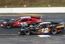 Matt Hirschman (60) battles Andy Jankowiak during the most recent Tri-Track Open Modified Series event at Monadnock Speedway. (Dick Ayers Photo)