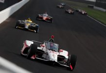 Marco Andretti leads a pack of cars, including teammate Alexander Rossi, during practice at Indianapolis Motor Speedway. (IndyCar photo)