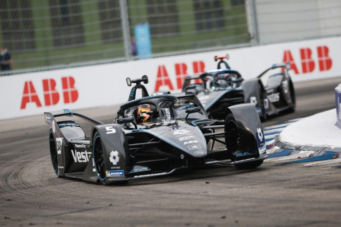 Mercedes teammates Stoffel Vandoorne and Nyck de Vries swept Thursday's Formula E event in Berlin. (Mercedes photo)