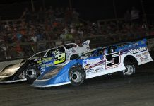 Brandon Sheppard (b5) battles Brian Shirley at Macon Speedway. (Jim DenHamer photo)