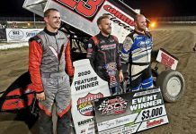Seth Bergman (center) outran J.J. Hickle and Colton Heath to win Thursday's ASCS Sprint Week feature at 81 Speedway. (ASCS Photo)