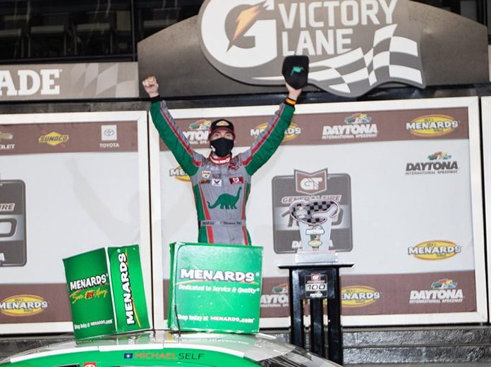 Michael Self won the inaugural ARCA Menards Series race on the Daytona Road Course Friday evening. (ARCA Photo)