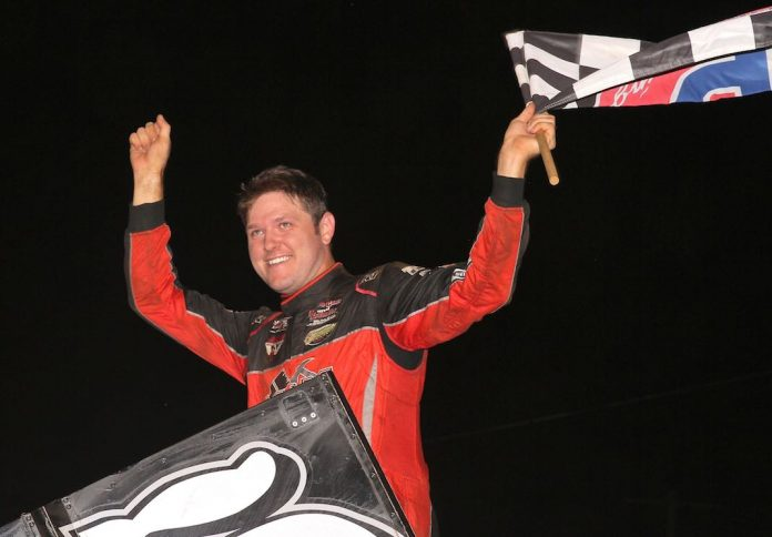 Brent Marks in victory lane at Williams Grove Speedway. (Dan Demarco photo)