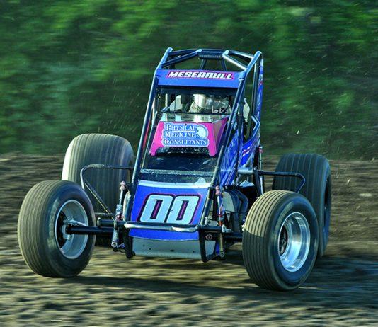 Thomas Meseraull won Friday's sprint car feature at Gas City I-69 Speedway. (Randy Crist Photo)