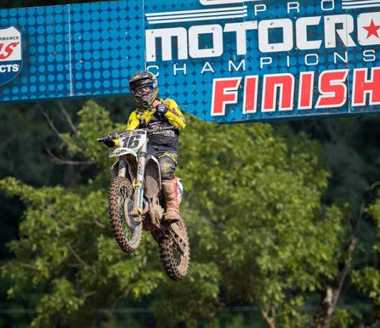 Zach Osborne claimed his first Lucas Oil Pro Motocross 450 class victory Saturday at Loretta Lynn's Ranch. (Align Media Photo)