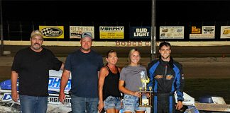 Dakota Sproul in victory lane Saturday at Dodge City Raceway Park.