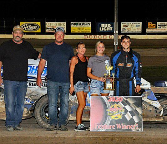 Dakota Sproul in victory lane Saturday at Dodge City Raceway Park.