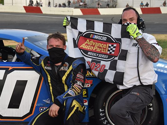 Matt Erickson celebrates his first win since June of 2019 at All American Speedway in Late Model competition (Don Thompson Photo)